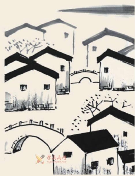 儿童国画入门《小桥流水人家》的画法(4)