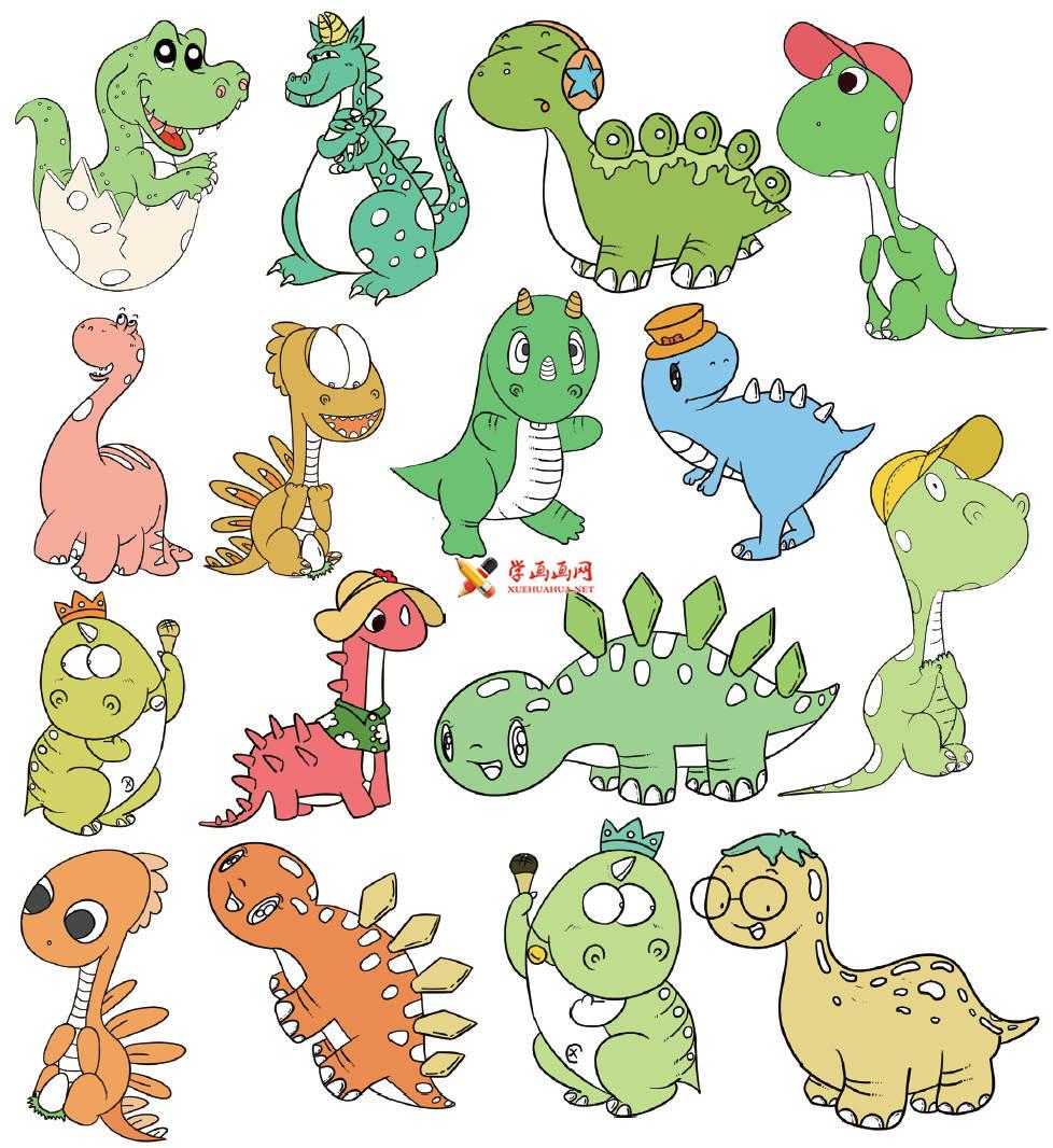 16幅彩色卡通恐龙简笔画