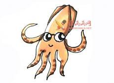 简单的步骤教你画卡通鱿鱼的简笔画