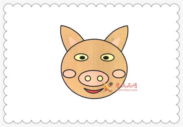 儿童学画画:猪头的简笔画教程