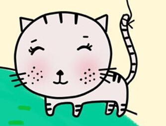 好玩的儿童简笔画教程:呆萌的圆脸猫的画法
