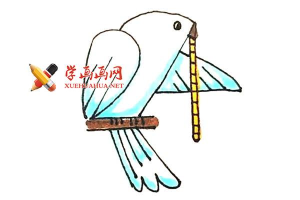 用数字2和4画出一个鸽子的简笔画【彩色】
