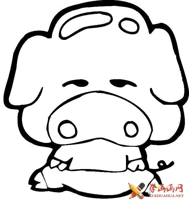儿童学画画_卡通猪简笔画图片