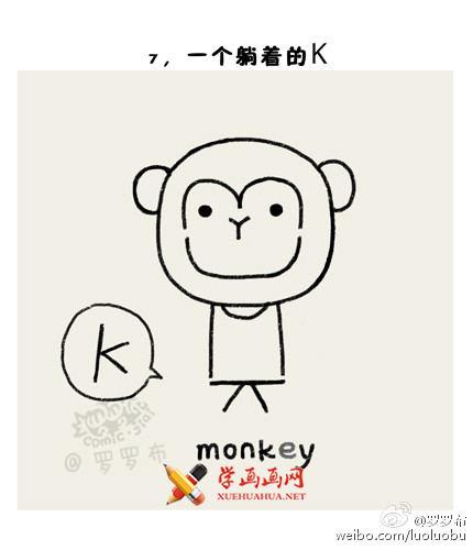 猴年教你画猴子:猴子简笔画教程