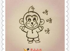 可爱大眼睛卡通猴子简笔画教程