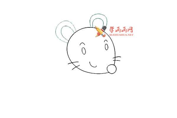 戴眼镜的卡通小老鼠的简笔画教程(4)