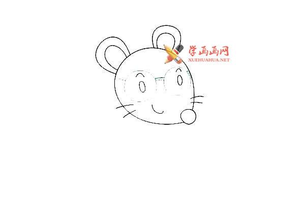 戴眼镜的卡通小老鼠的简笔画教程(5)
