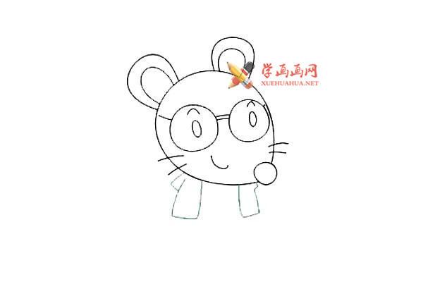 戴眼镜的卡通小老鼠的简笔画教程(6)
