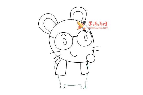 戴眼镜的卡通小老鼠的简笔画教程(7)