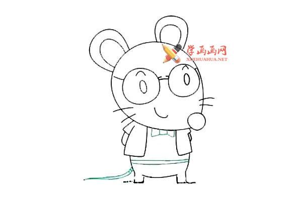 戴眼镜的卡通小老鼠的简笔画教程(8)