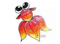 大眼睛的金鱼的简笔画画法教程【彩色】