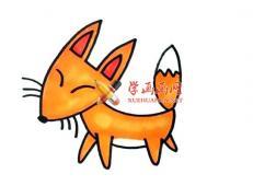 卡通小狐狸的简笔画画法教程【彩色】