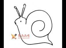可爱的蜗牛的简笔画画法大全