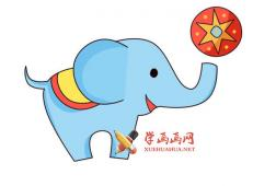 杂技团大象顶皮球的简笔画画法图片