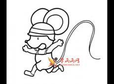 带着帽子的小老鼠的简笔画
