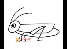 卡通蚱蜢的简笔画画法素材