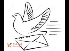 送信的鸽子简笔画图片