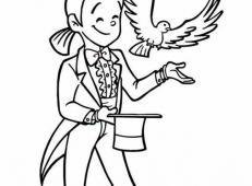 魔术师变鸽子简笔画