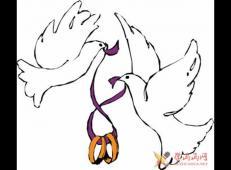 一根紫色丝带连接着的两只鸽子的简单画法