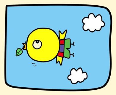彩色卡通儿童简笔画小鸟的画法