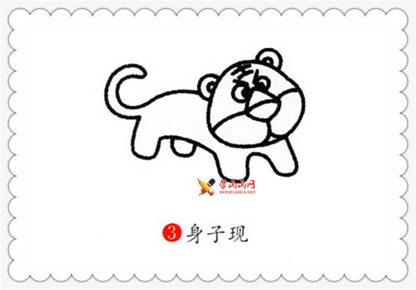 老虎简笔画的画法__野生动物