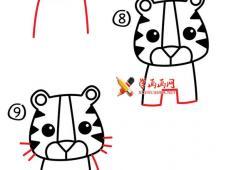 怎么画卡通简笔画老虎
