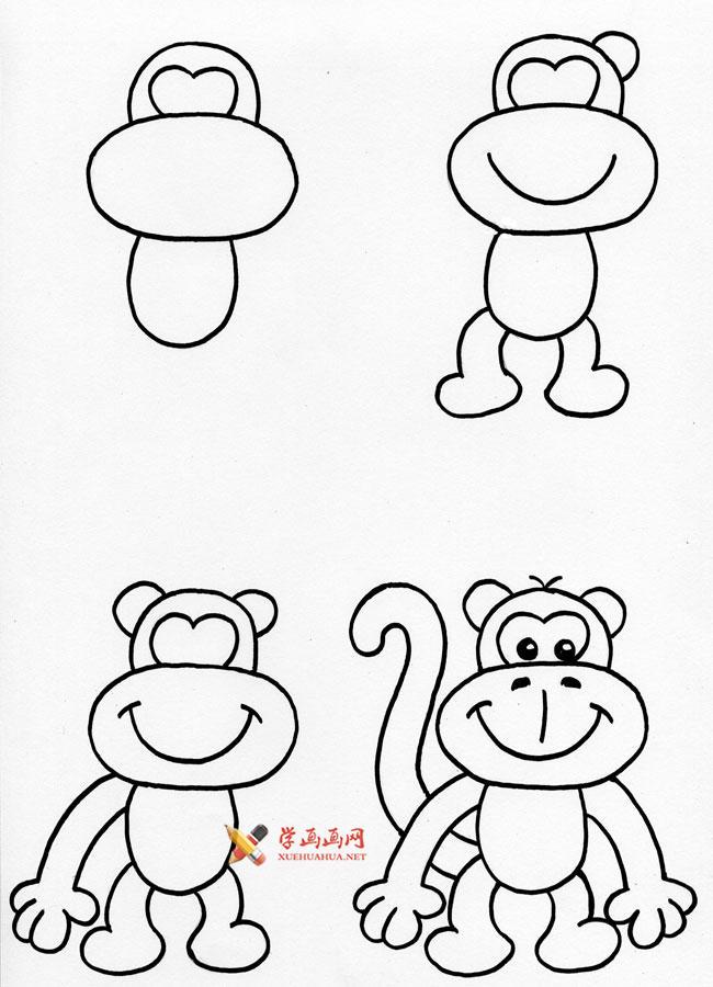 3种简笔画猴子的画法_