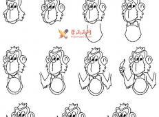 教你画卡通猴子教程