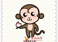 猴子简笔画教程:拿桃子的小猴子的画法