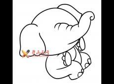玩耍的大象的简笔画