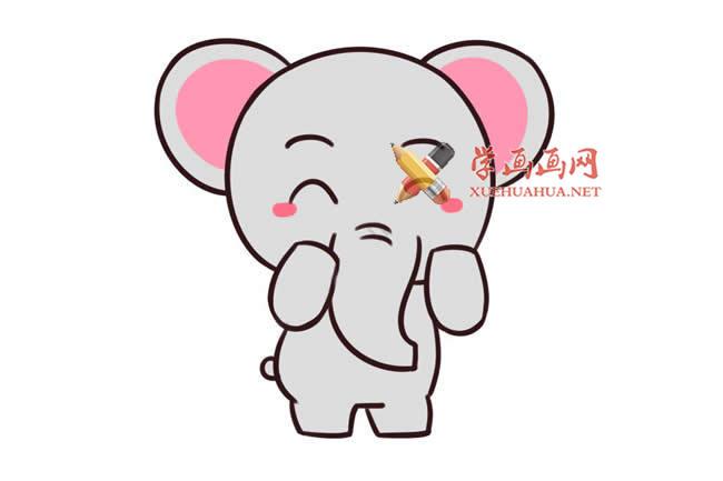 爱笑的卡通大象的简笔画画法教程