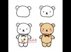 可爱的卡通的小熊的简笔画画法教程【彩色】