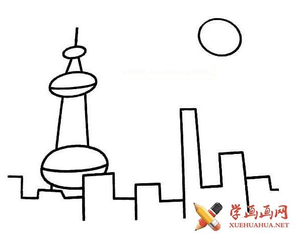 上海东方明珠电视塔简笔画图片