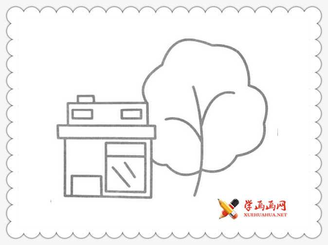 8幅房子和树简笔画图片