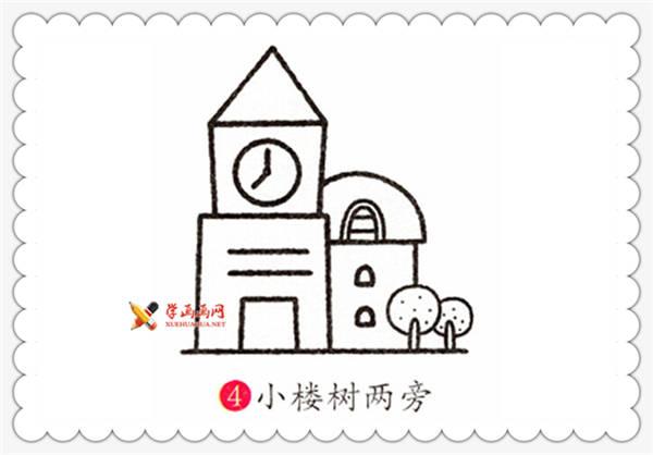 闽南建筑物东西塔简笔画