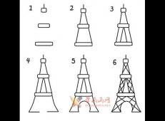 儿童学画画教程:简笔画艾菲尔铁塔的画法