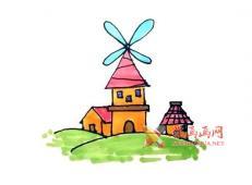一步步的教你画风车屋的简笔画