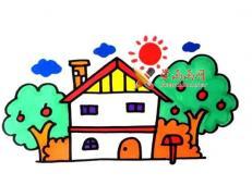 果园里的小木屋的简笔画画法教程