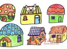 6种彩色房子的简笔画画法素材