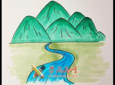 高山流水的简笔画画法步骤详解【彩色】