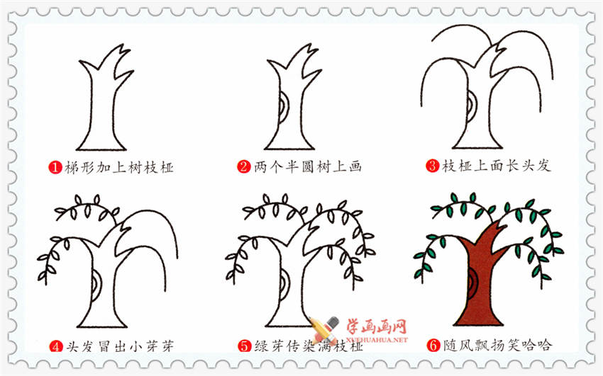 儿童学画画:柳树简笔画法步骤(1)