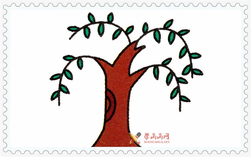 儿童学画画:柳树简笔画法步骤(2)