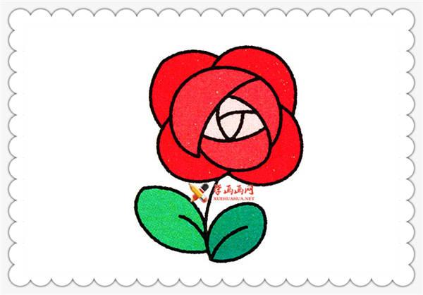 玫瑰花简笔画的画法详细步骤(7)