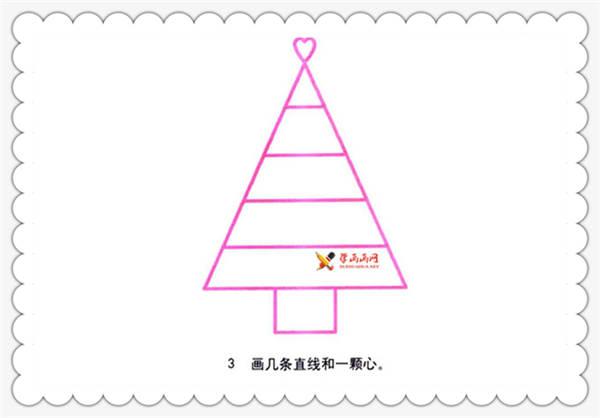 圣诞树的画法步骤1:先画一个三角形