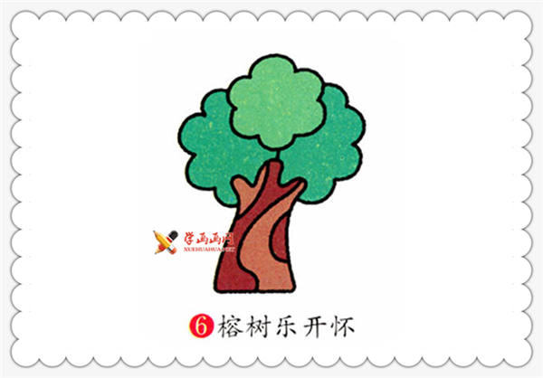 儿童画教程:榕树的简笔画画法(6)