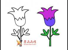 10幅不同的花朵的简笔画图片【彩色】