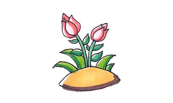 怎么画月季花?儿童简笔画月季花的画法步骤教程(9)