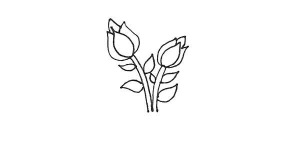 怎么画月季花?儿童简笔画月季花的画法步骤教程(6)