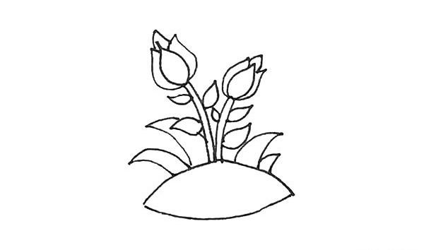 怎么画月季花?儿童简笔画月季花的画法步骤教程(8)