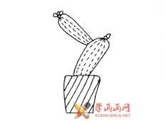 一组漂亮的仙人掌的简笔画画法素材大全
